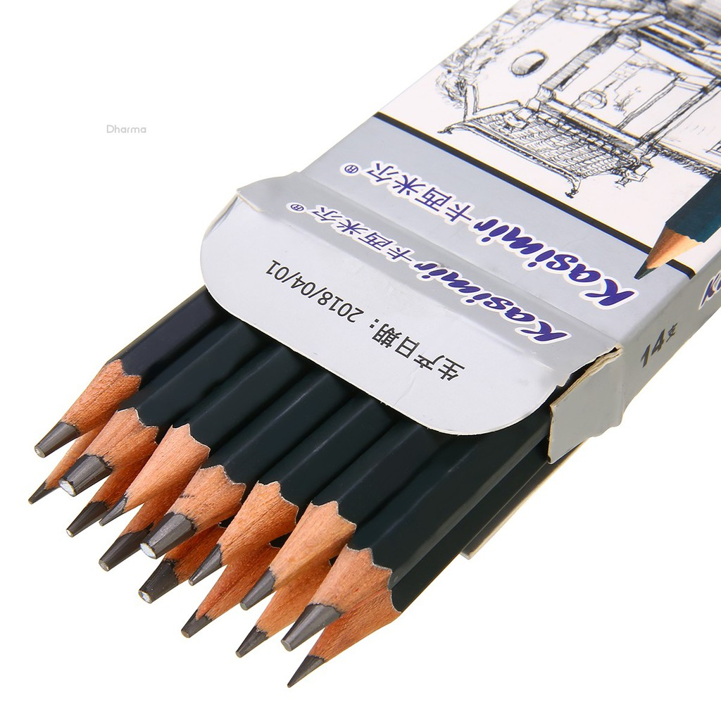 Best Quality 14pcs//Set 12B 10B 8B 7B 6B 5B 4B 3B 2B B HB 2H 4H 6H Graphite Sketching Pencils Professional Sketch Pencils Set for Drawing 3
