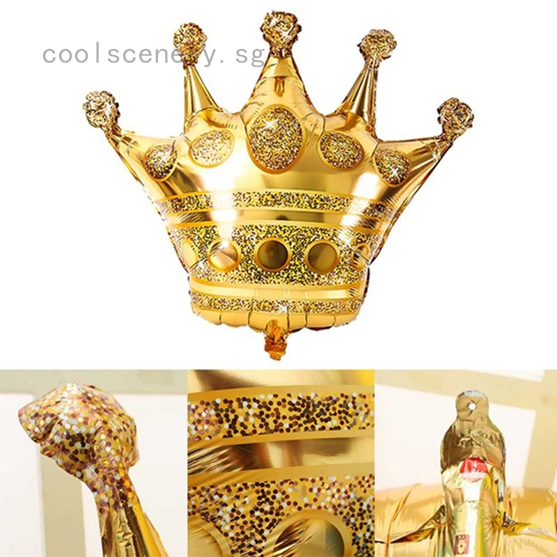 Foil Balloon Gold Crown Prince Princess Wedding Birthday Party Supplies Decor