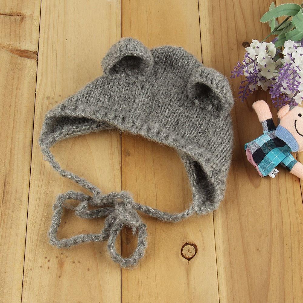 Baby Infant Newborn Baby Hat Mohair Photography Props Cap Ear Bear Bonnet