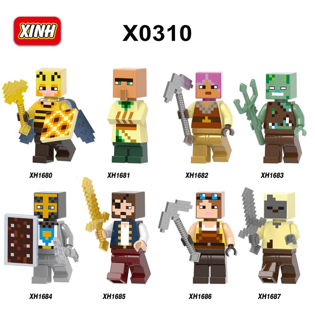 Building Blocks My World Minifigures Minecraft Toys Bricks Lego Compatible Kids Gifts Education X0310