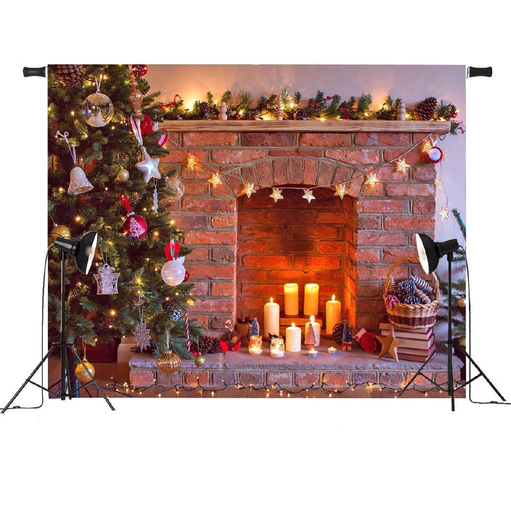 Cg 7x5ft Retro Christmas Tree Vinyl Fireplace Photography