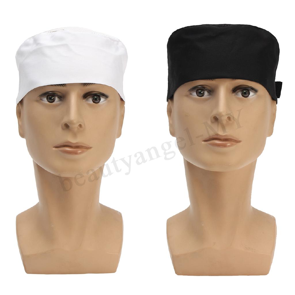 Black White Mesh Top Skull Cap Catering Chefs Kitchen Hat