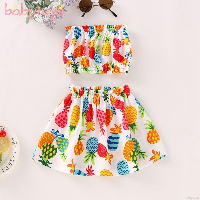 Pineapple Plaid Printed Dress Set Baby//Toddler Girl Short Sleeve Pineapple T-Shirt Tops