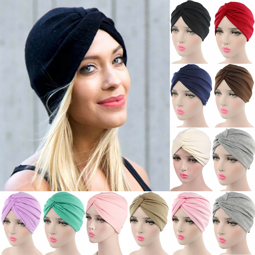 Women Indian Stretchable Chemo Pleated Turban Hat Head Wrap Hijab Cap