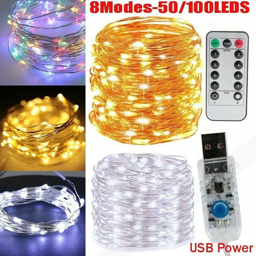 50//100//200 LED Battery Micro Rice Wire Copper Fairy String Lights Wedding Party