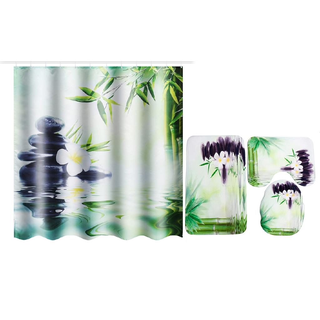 Home Garden Shower Curtains Waterproof Fabric Hooks