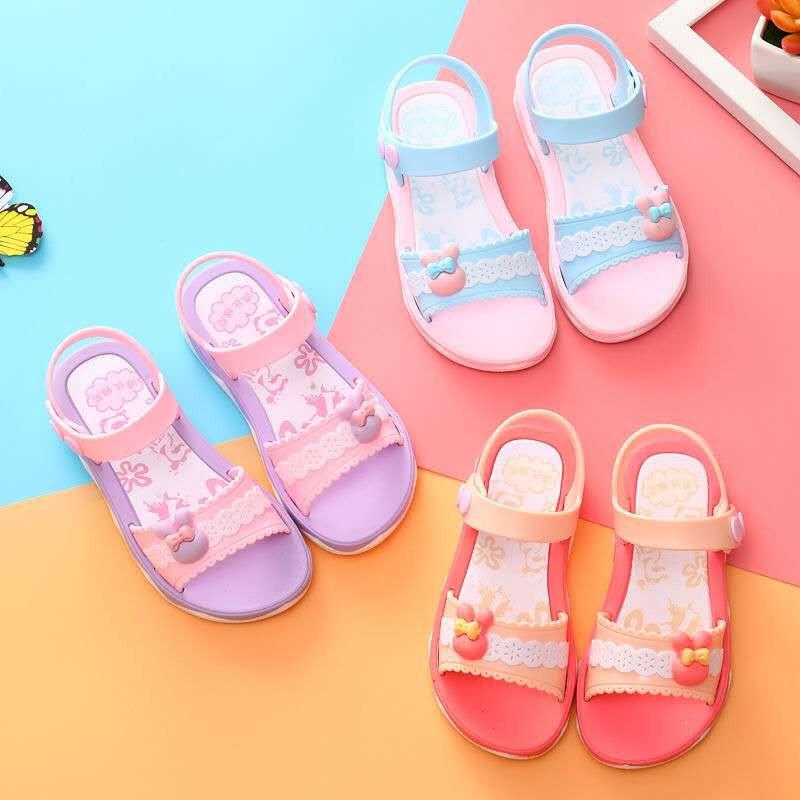 New Toddler Girls Slippers Kids Princess Slip on Sandals Youth Summer Slippers
