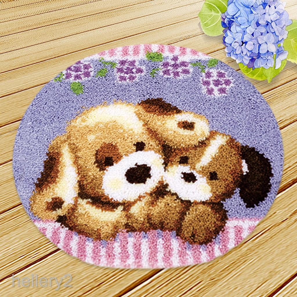 Blesiya Latch Hook Rug Making Kits Printed Cat Dog Flowers Santa Christmas Gift