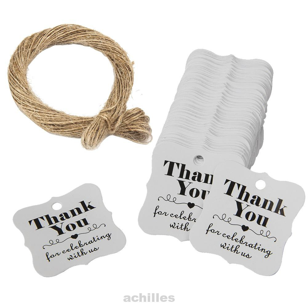 100x Thank You Gift Tags Hanging Tags Bookmarks Wedding Baking Decoration