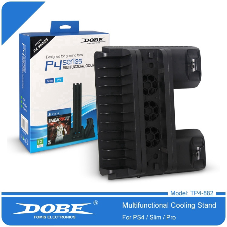 DOBE PS4 Slim PS4 Pro Console Cooling Fan PS4 Controller Charger Game Disk  Storage Stand