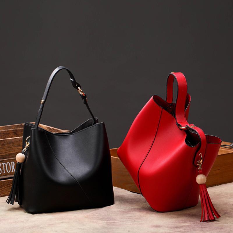 Handbag woman 2018 new Korean version of Korean impact color soft leather  bucket   Shopee Singapore d1285ac471