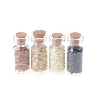 4pcs Glass Jar w.Dried Food Lid for 1:12 Dollhouse Miniature