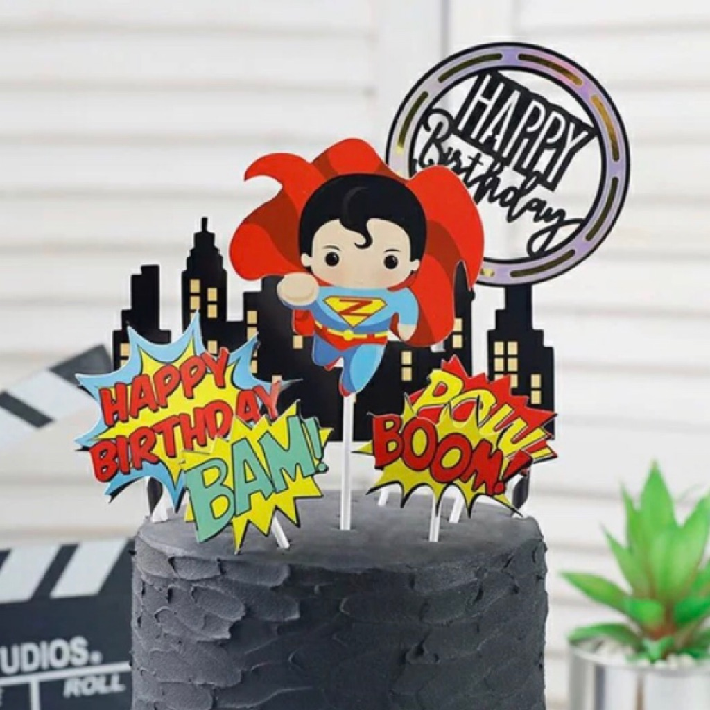 Enjoyable Sg Seller Dc Superhero Superman Round Happy Birthday Cake Funny Birthday Cards Online Kookostrdamsfinfo