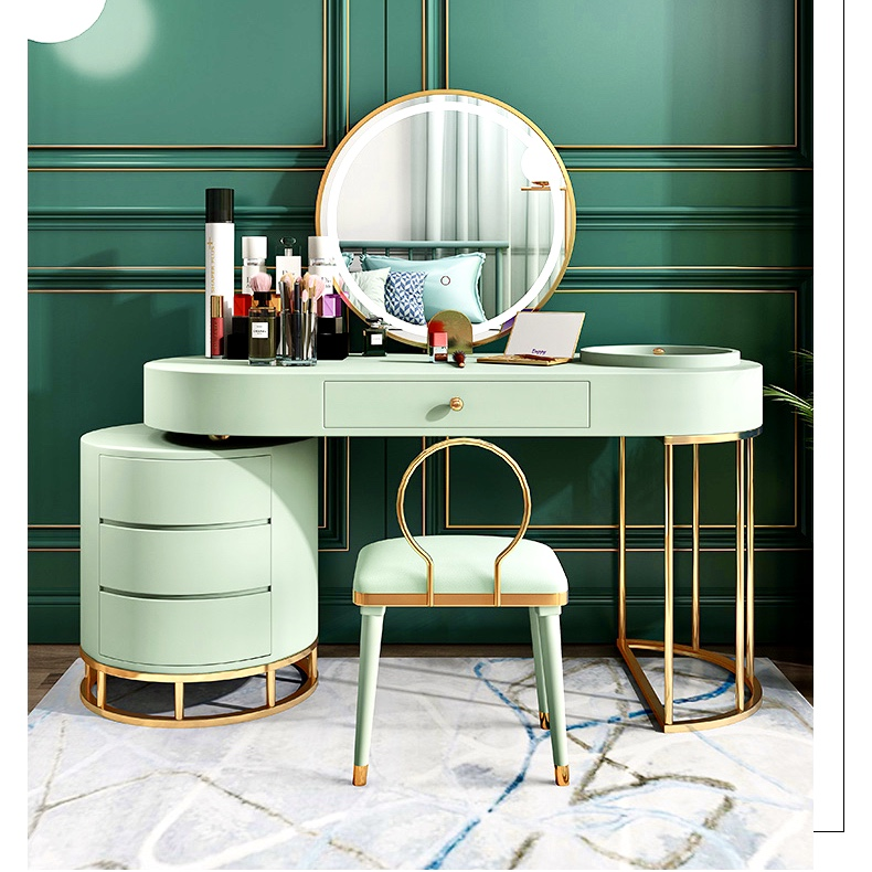 Youmanni Luxury Dressing Table With Led Mirror Bedroom Furniture Modern Drawer Cabinet Makeup Table With Chair Simple European Net Red Ins Storage Dresser Vanity Table Telescopic Bedside Table Shopee Singapore