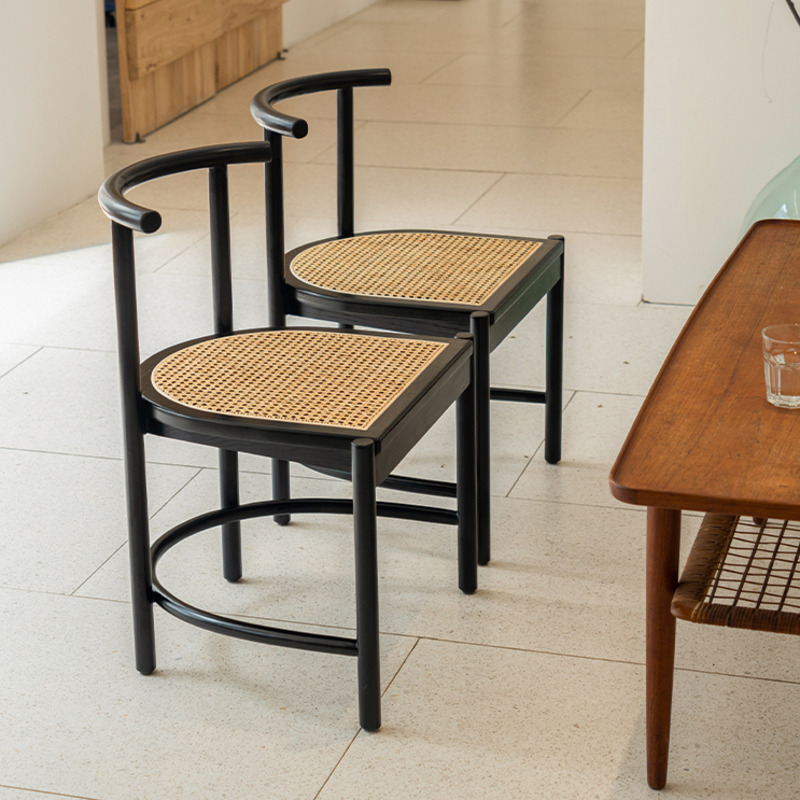 Rattan Chair Nordic Household Solid Wood Chair Simple Modern Japanese Style Armchair Ins Dining Table Chair Shopee Singapore