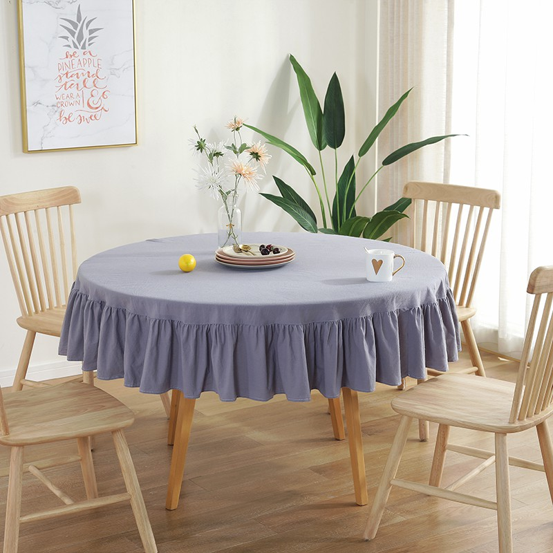 Pleated Cotton Table Cloth Round, Round Table Cover
