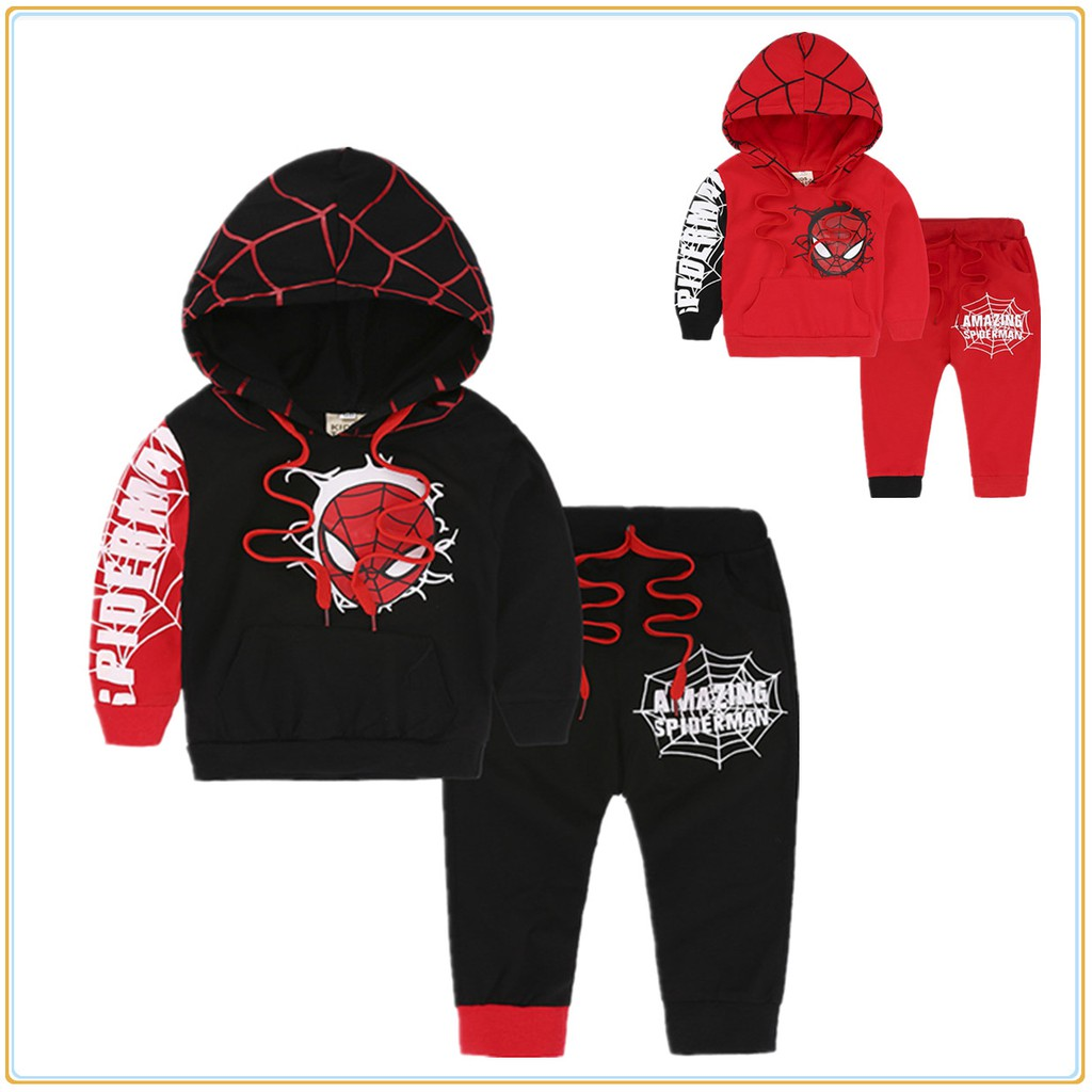 2PCS Toddler Baby Boys Spider-Man Outfits Coat Top+Pants Kids Clothes Set