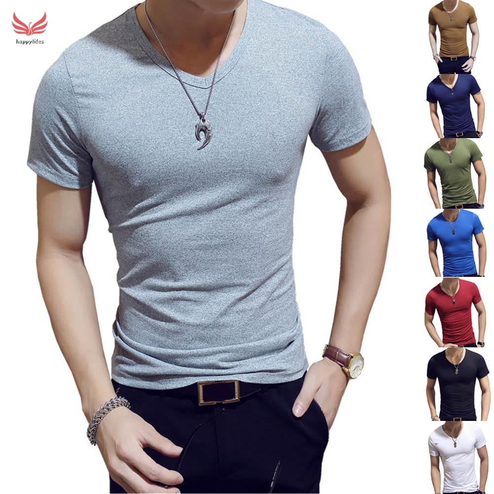 Summer Mens V Neck Lapels Shirts Short Sleeve Solid Color Basic Tee T-Shirt UK