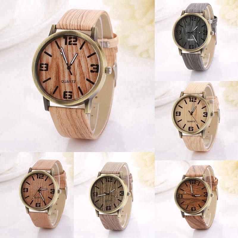 b4b48a309fc Vintage Wood Grain Watches Fashion Women Quartz Watch Wristwatch Gift  Hottest