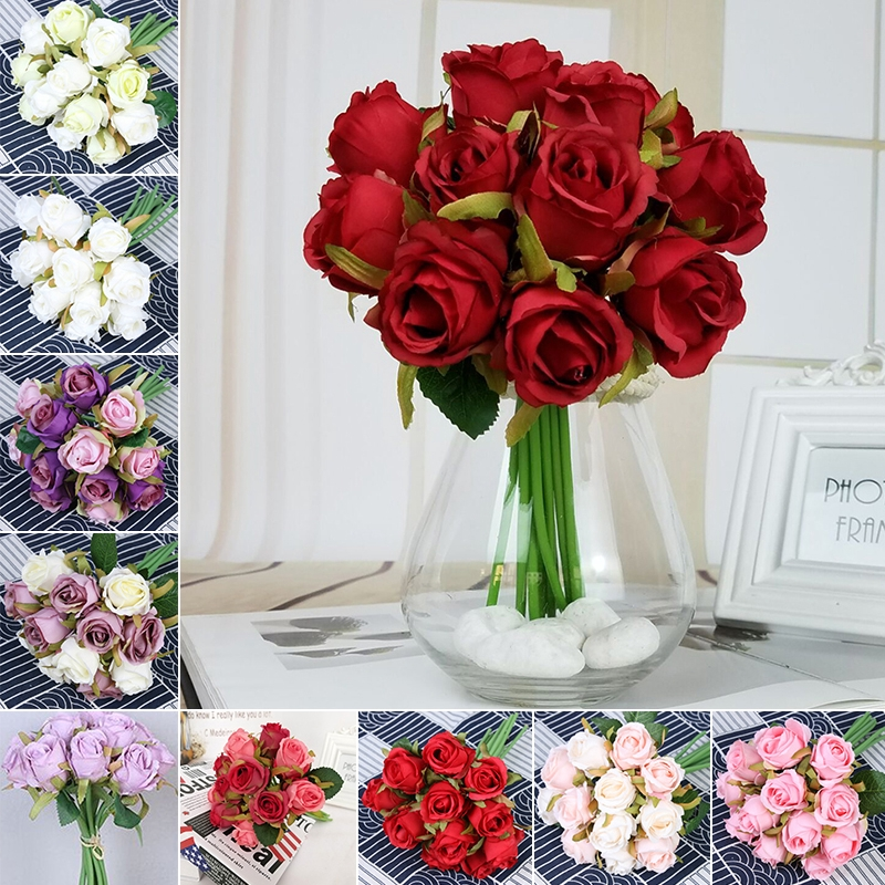 Artificial Bouquet Rose Silk Flowers Fake Leaf Wedding Party Decor Home 12x Shopee Singapore