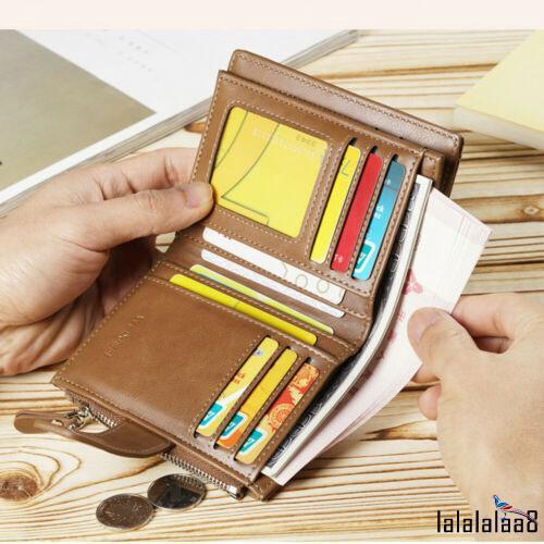 Men/'s Black Business Leather Wallet Pocket Card Holder Clutch Bifold Slim Purse