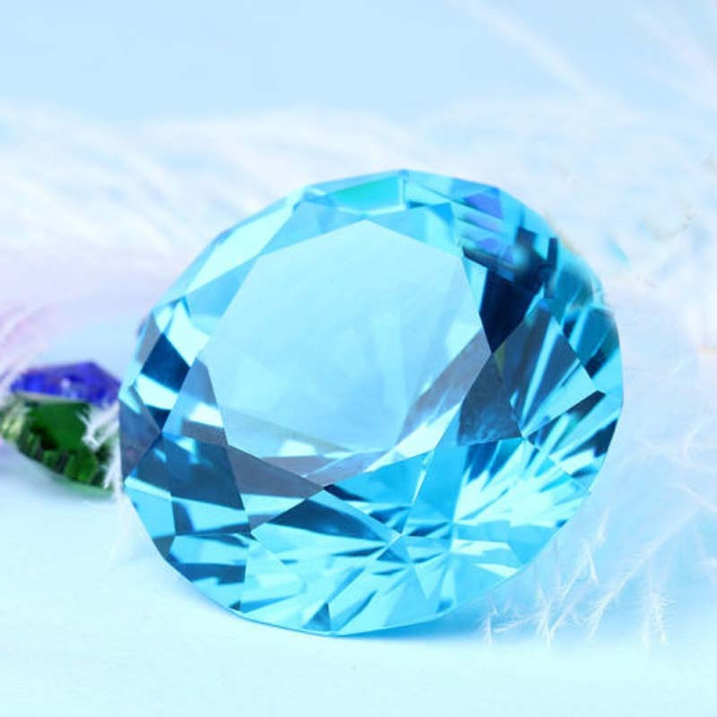 New 40mm Blue Crystal Diamond Shape Paperweight Glass Gem Display Gift Ornament