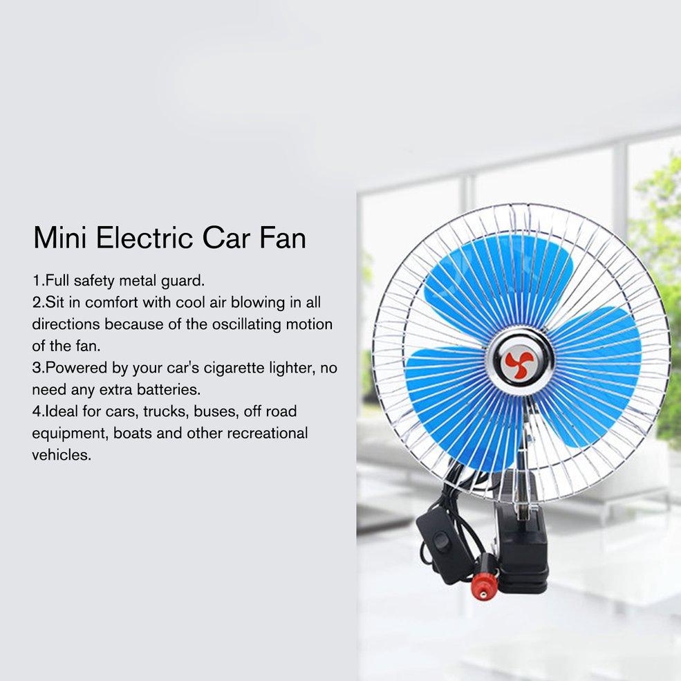 ❤COD8 inch 12V/24V Mini Electric Car Fan Cooling Low Noise Summer Car  Cooling Fan