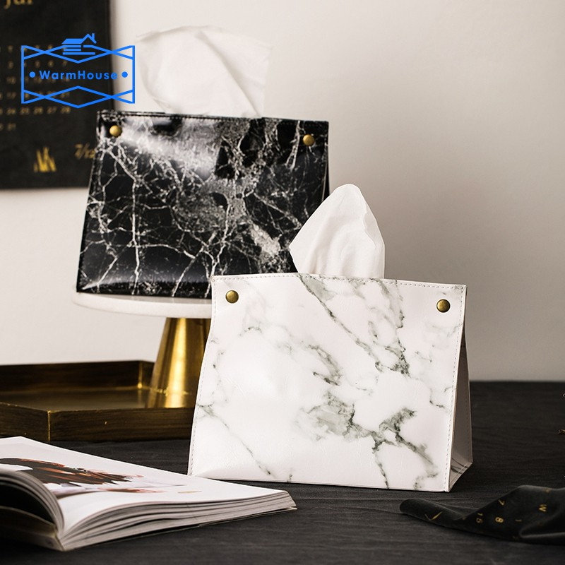 Marble Pattern Tissue Box Pu Leather Home Car Napkin Paper Container Paper  Towel Napkin Case Pouch